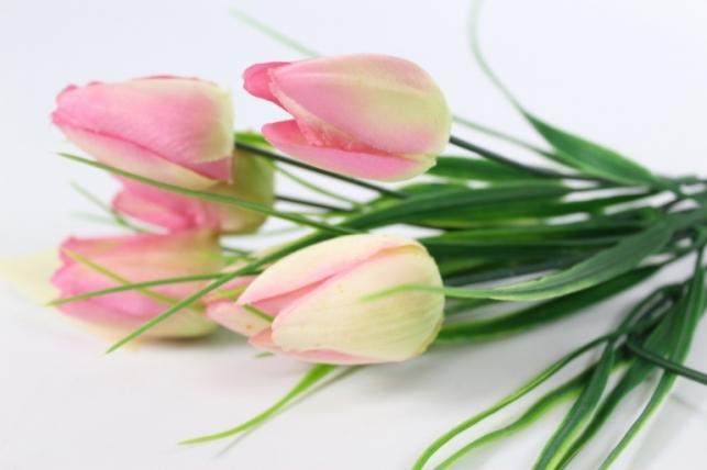 искусственные растения - тюльпан букет 27см розовый