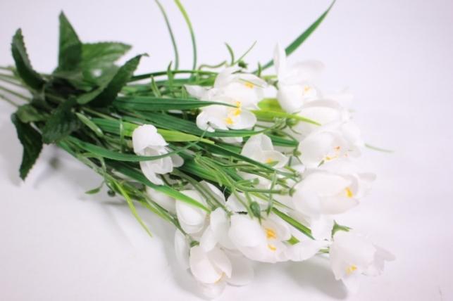 искусственные растения - ветка крокус белый 30см (6шт в уп)  kwsj22a (код 8872)