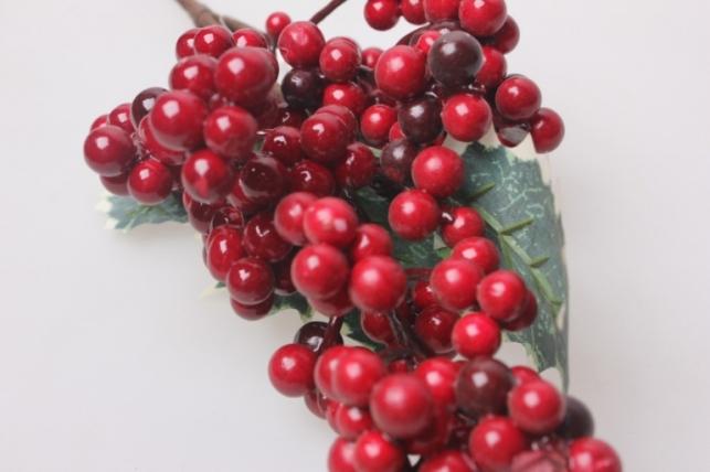 искусственные растения - ветка падуба с ягодами 30см 1931