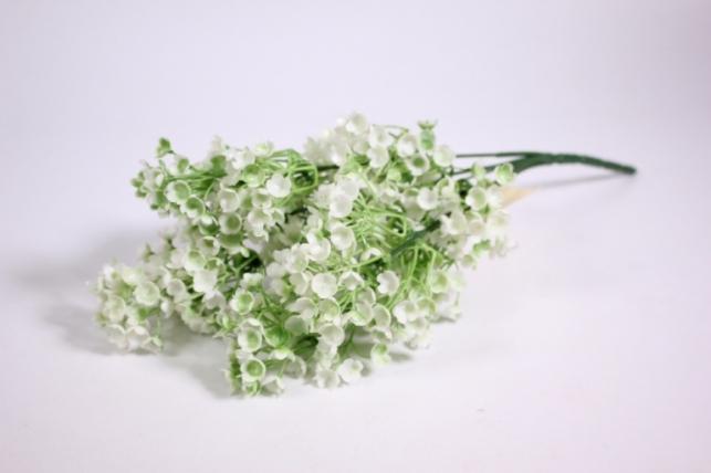 Искусственные растения - Ветка с белыми цветочками 30см  GAB86 (Код 4124)