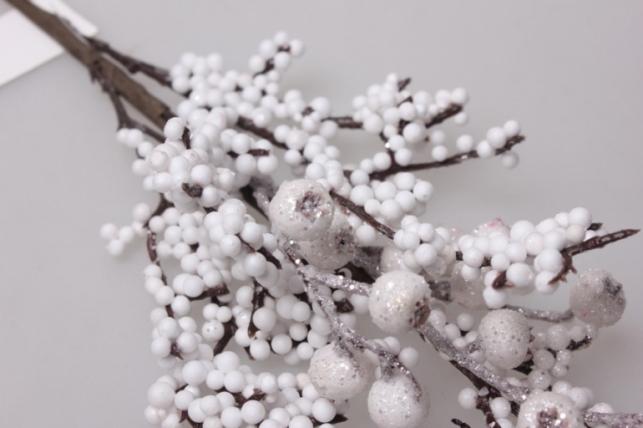 искусственные растения - ветка снежная ягода 60см 1924