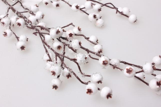 искусственные растения - ветка снежная ягода белая 70см 1986