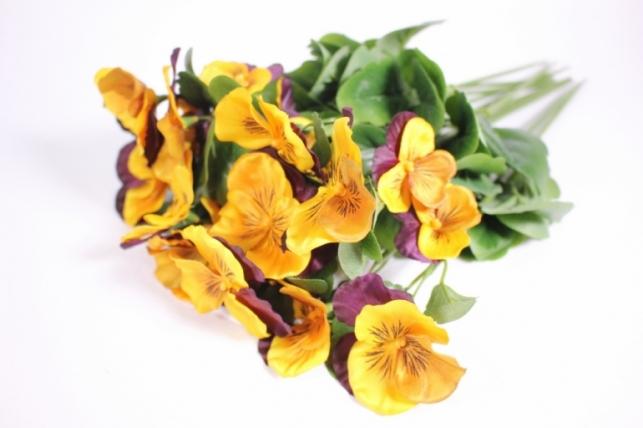 Искусственные растения - Виола фиолетово-желтая (12шт в уп) SUN417