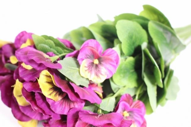 искусственные растения - виола 30см фиолетово-лимонная (12шт в уп) sun417