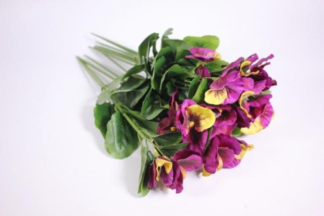 Искусственные растения - Виола фиолетово-лимонная (12шт в уп) SUN417
