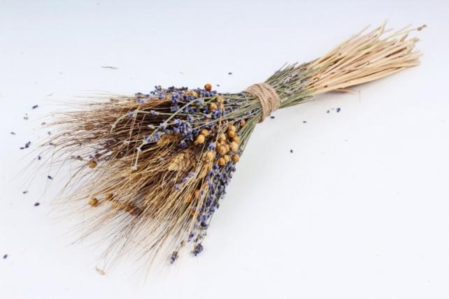 Изделие декоративное: букет из льна и лаванды,  190 гр. (М) 7216