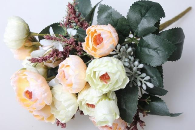 камелия букет бело/розовый 30см