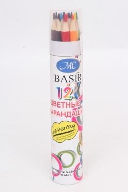 Карандаши цветные в цилиндрическом пенале 12шт. h=21 см