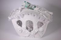 Карета свадебная для денег - белая (16) 32x13см h=27см