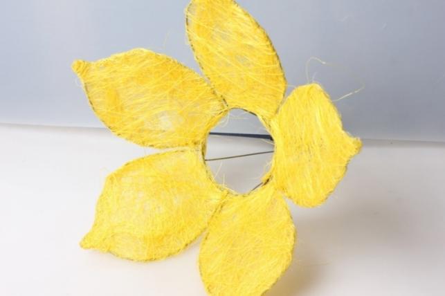 Каркас для букета ЦВЕТОК 5 листник сизаль Желтый 25см