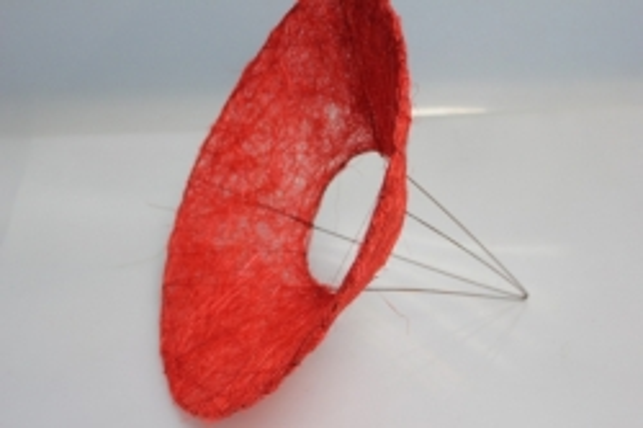 Каркас для букета Конус гладкий сизаль 25см - Красный