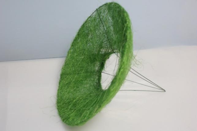 Каркас для букета Конус гладкий сизаль 25см - Зеленый