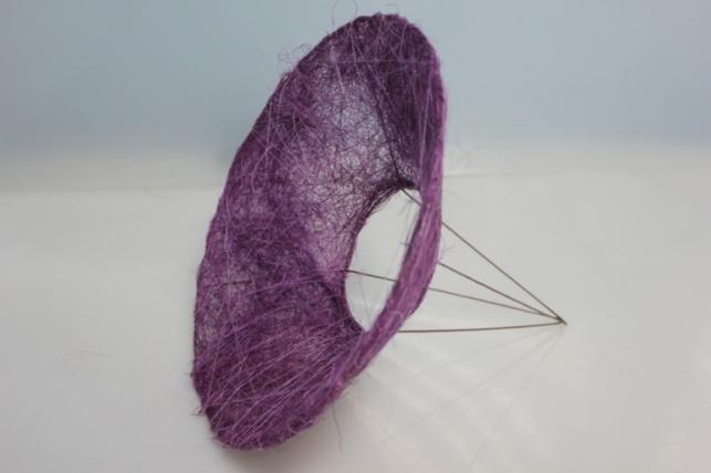 Каркас для букета Конус гладкий сизаль 30см - Фиолетовый