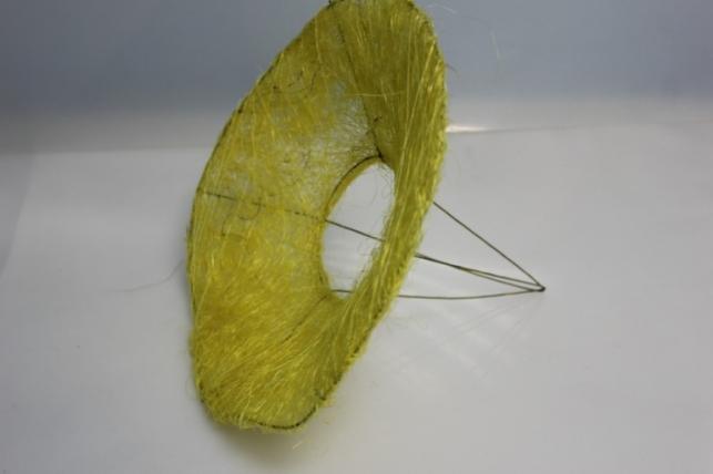 каркас для цветов конус гладкий сизаль 30см - желтый 8221