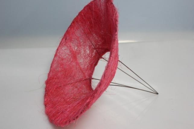 Каркас для букета Конус гладкий сизаль 30см - Розовый