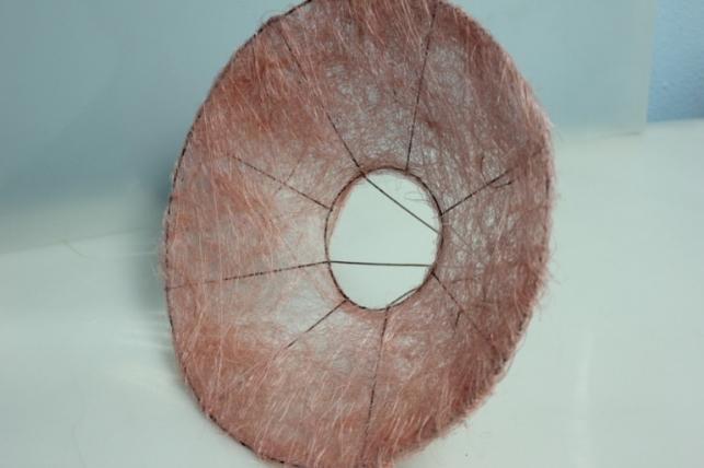 Каркас для букета Конус гладкий сизаль 30см - Светло-розовый