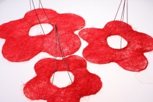 Каркас для букета набор сизаль Цветок (3шт в уп) CS12K006 S3 mix - Красный