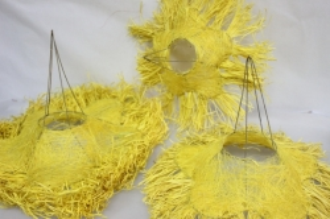 Каркас для букета набор сизаль с ротанговой бахрамой 30см (3шт в уп) Желтый