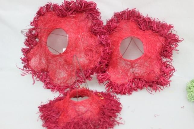 Каркас для букета набор сизаль с ротанговой бахрамой 30см (3шт в уп) Красный