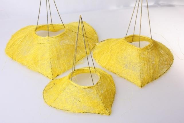 Каркас для букета набор сизаль Сердце (3шт в уп) K1 S3 MIX - Жёлтый