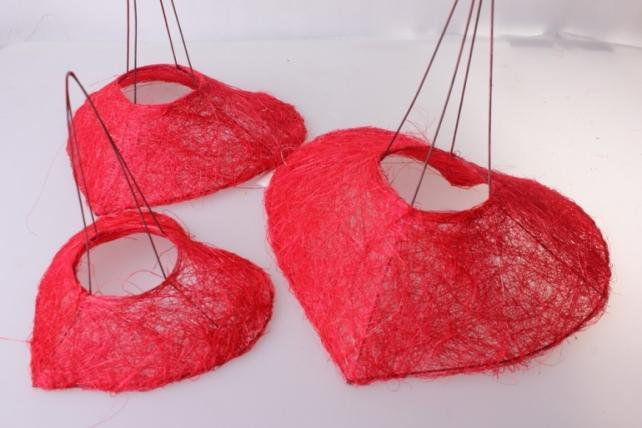 Каркас для букета набор сизаль Сердце (3шт в уп) K1 S3 MIX - Красный