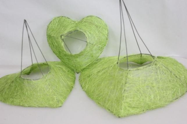 Каркас для букета набор сизаль  Сердце Салатовый (3шт в уп)  30см