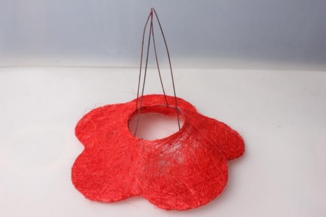 Каркас для букета РОМАШКА сизаль Красный 25см