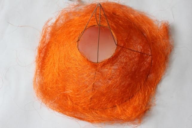 """Каркас для букета """"Сизаль одиночный"""" пушистый d=30см в асс. Оранжевый"""