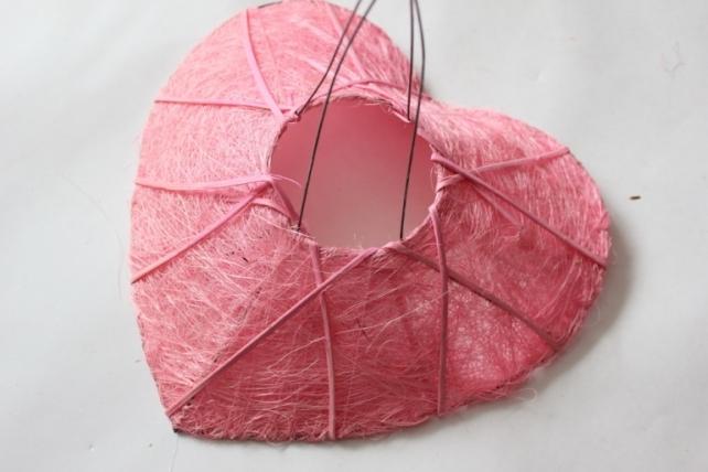 """Каркас для букета """"Сизалевое сердце одиночное """" d=25см Розовый"""