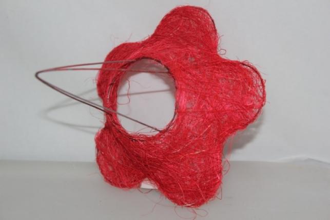 Каркас для букета Сизалевый  ЦВЕТОК 15см малый Красный
