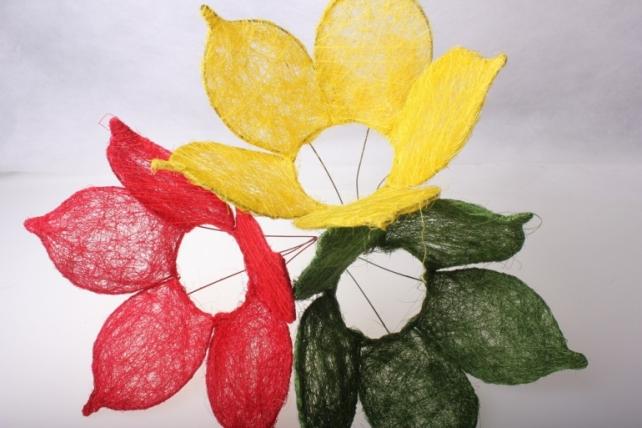 """каркас для букетов аксессуары для флористов - каркас """"сизалевый цветок"""" - красный 1275"""