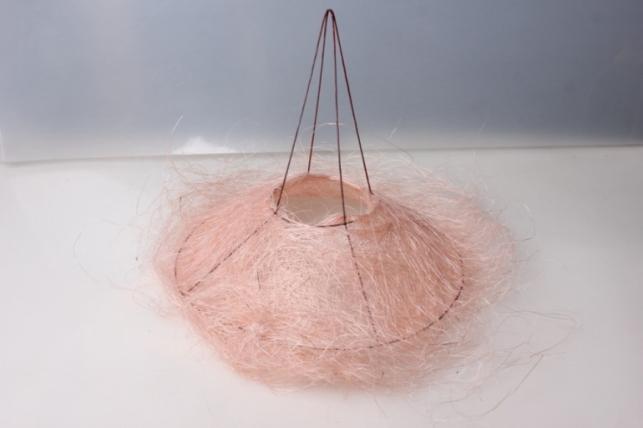 """Каркас для букеты """"Сизаль одиночный"""" пушистый  30см  Светло-Розовый"""