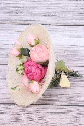 """Каркас для цветов  """"Сизаль одиночный"""" 20см Белый"""