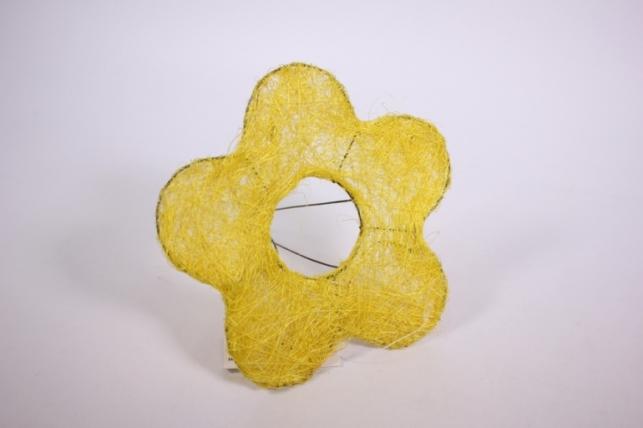 """каркас для цветов  """"сизалевый  цветок 15см"""" малый  желтый"""