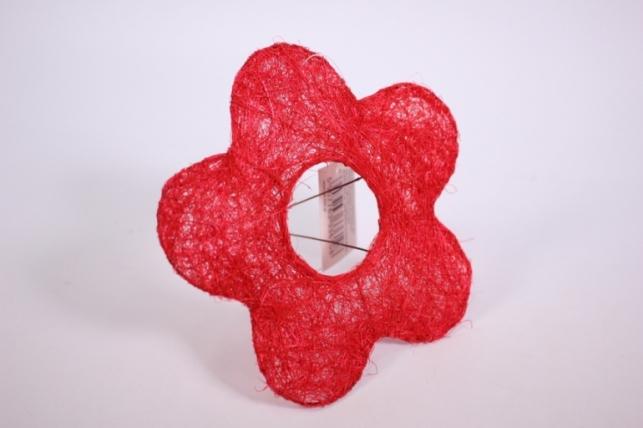 """Каркас для цветов  """"Сизалевый  ЦВЕТОК 15см"""" малый  Красный"""