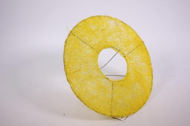 """Каркас для цветов  """"Сизалевый круглый плоский"""" 20см Желтый"""