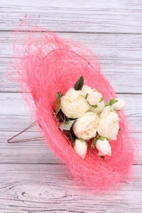 """Каркас """"Сизаль одиночный"""" пушистый  25см  Розовый яркий"""