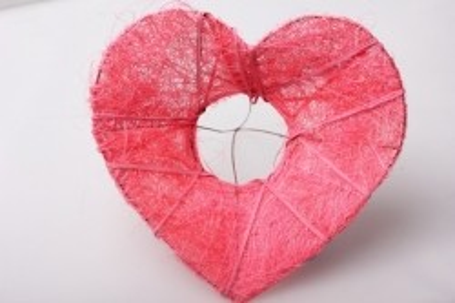 Каркас сизаль Сердце Розовое d=20см (1шт)