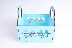 "Кашпо (А) ""птицы"" (Цвет Голубой)Я047"