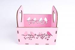 """Кашпо (А) """"птицы""""  (Цвет Розовый)Я047"""