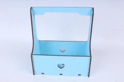 Кашпо (А) Ящик для цветов №3  (Цвет Голубой )Я003г