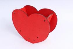 """Кашпо (А) Ящик для цветов """"Сердце"""" (Цвет Красный ) 14Ф035"""