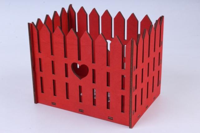 Кашпо (А)  Ящик заборчик большой №7   красный Я007к