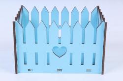 Кашпо (А)  Ящик заборчик малый №8   голубой Я008г