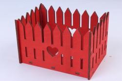 Кашпо (А)  Ящик заборчик малый №8   красный Я008к
