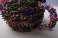 кашпо  чайник из травы 12459