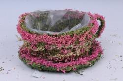 Кашпо Чашка  из травы 13893-1 d=20cm h=11cm