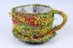 Кашпо Чашка  из травы SL12474 d=15 h=13 см.