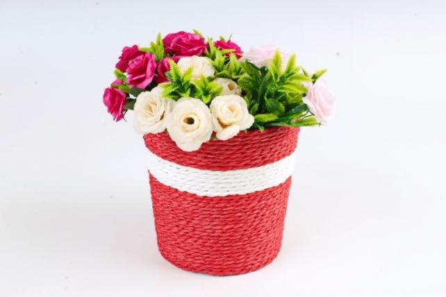 Кашпо Цилиндр из бумажного шнура Красное WH14-277 MIX