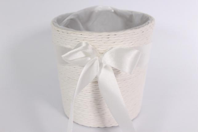 """Кашпо """"Цилиндр"""" намотка бумажный шнур Белый d=12, h=12см"""